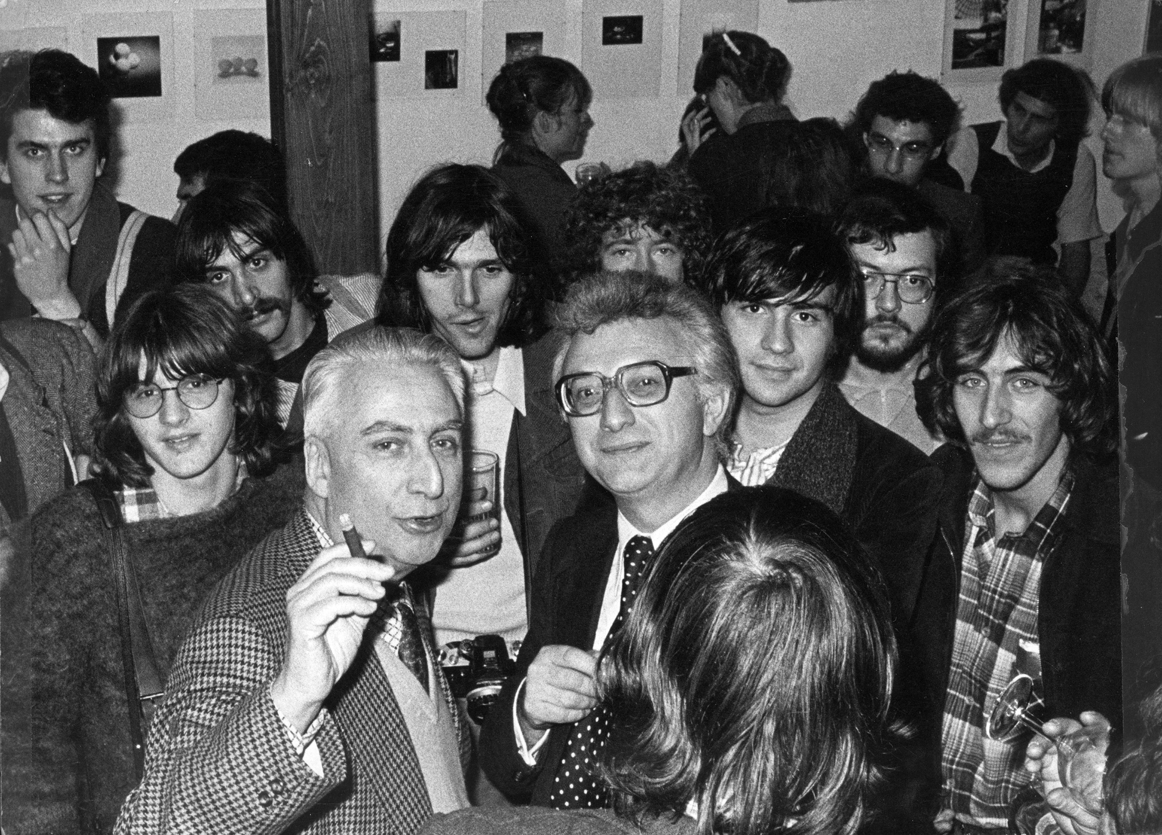"Lucien Clergue and Roland Barthes after Clergue's presentation of thesis ""Language of the Sands"" at Provence University in Marseille, 1979"