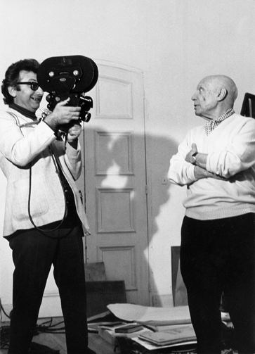 Lucien Clergue filming Pablo Picasso at Mougins, France 1969
